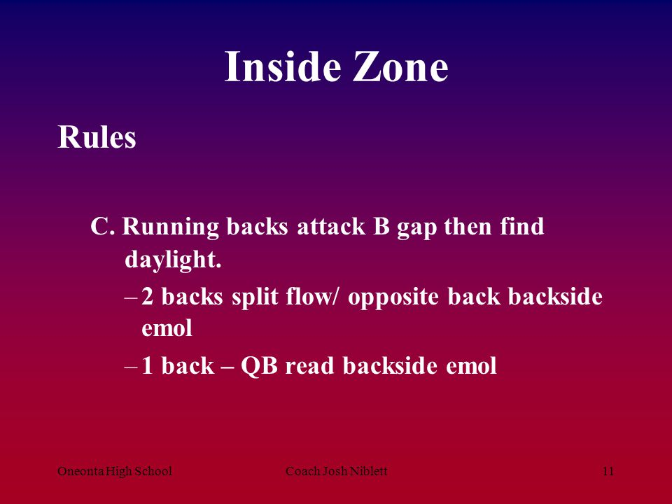 Inside Zone Rules C. Running backs attack B gap then find daylight.