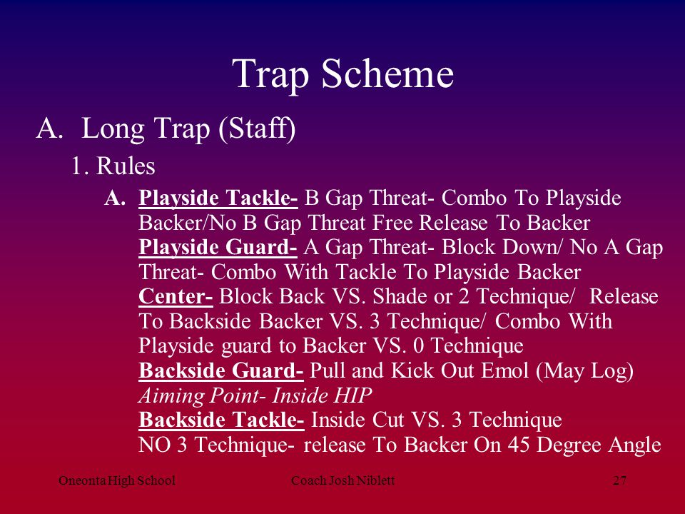 Trap Scheme Long Trap (Staff) 1. Rules