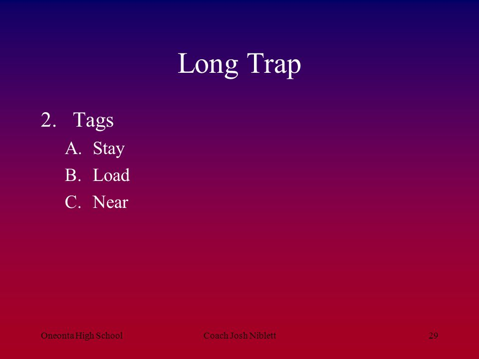 Long Trap Tags Stay Load Near Oneonta High School Coach Josh Niblett