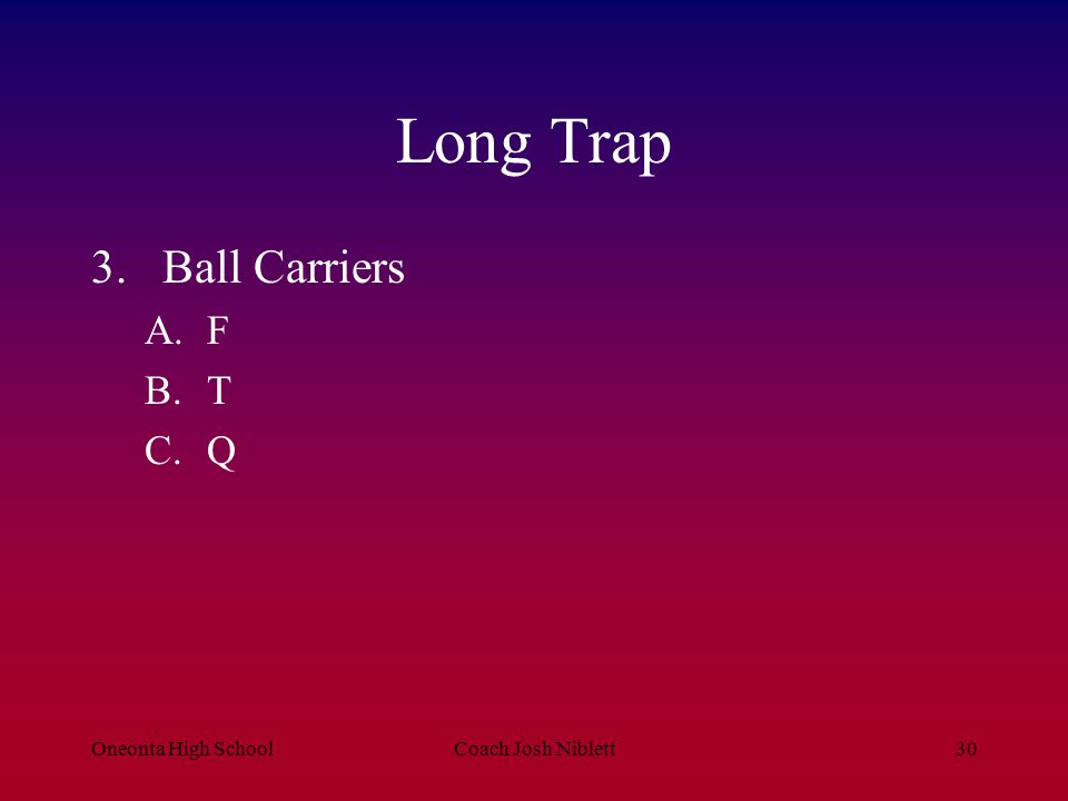 Long Trap Ball Carriers F T Q Oneonta High School Coach Josh Niblett