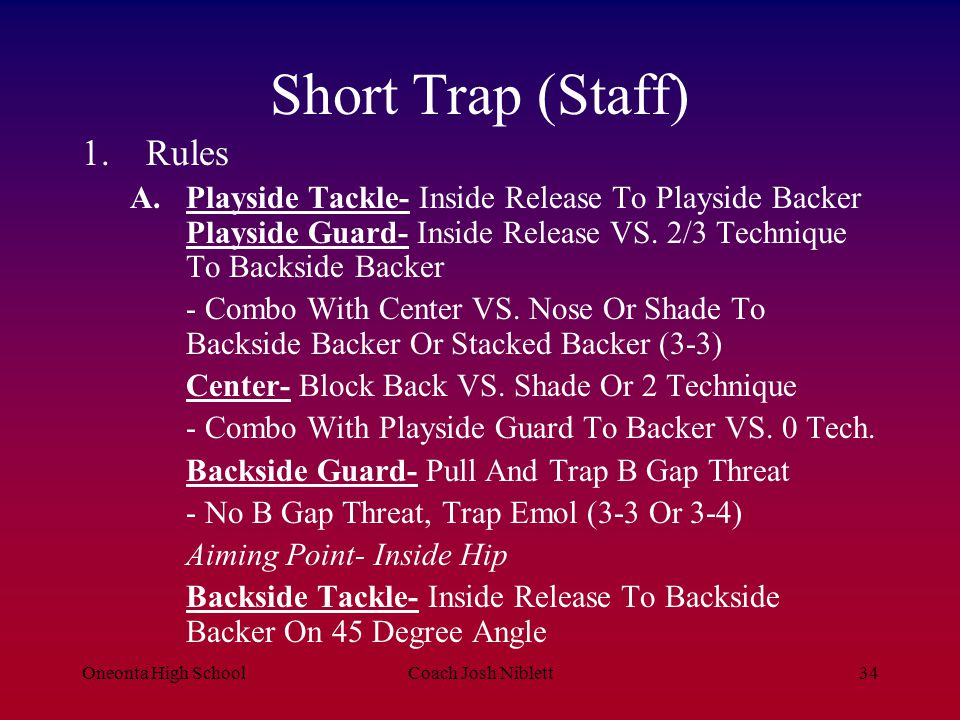 Short Trap (Staff) Rules