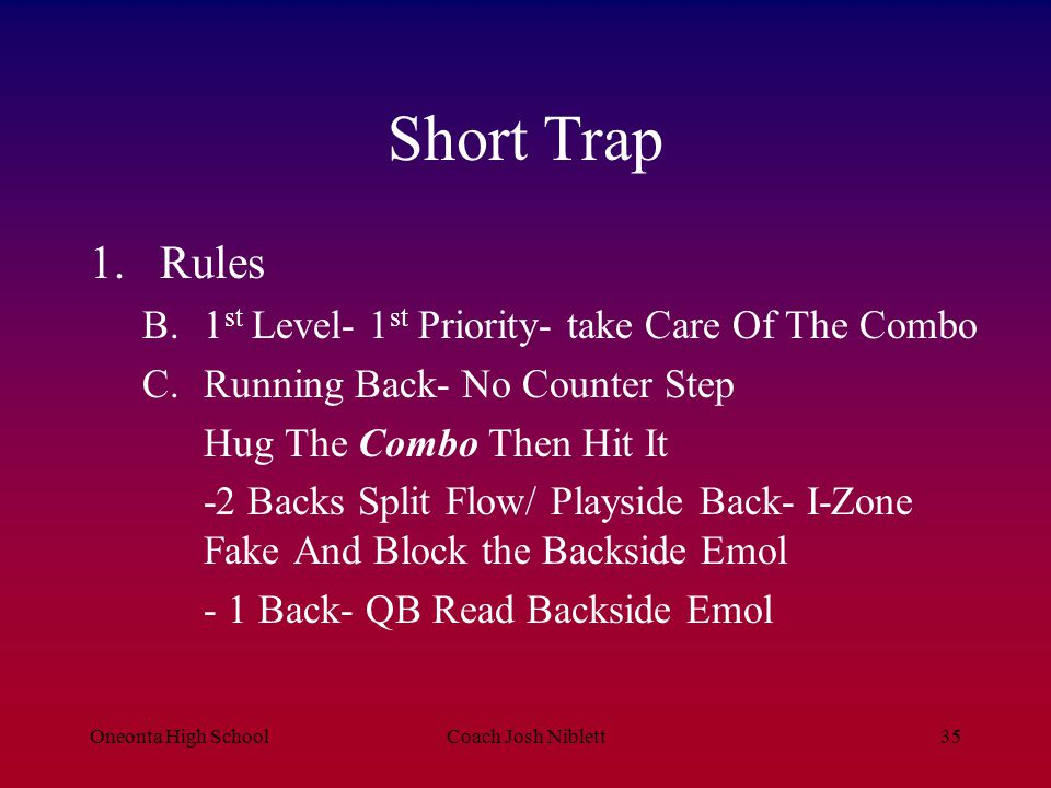 Short Trap Rules 1st Level- 1st Priority- take Care Of The Combo