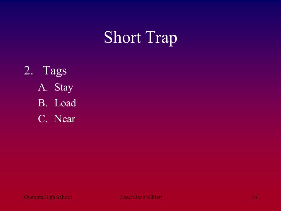 Short Trap Tags Stay Load Near Oneonta High School Coach Josh Niblett