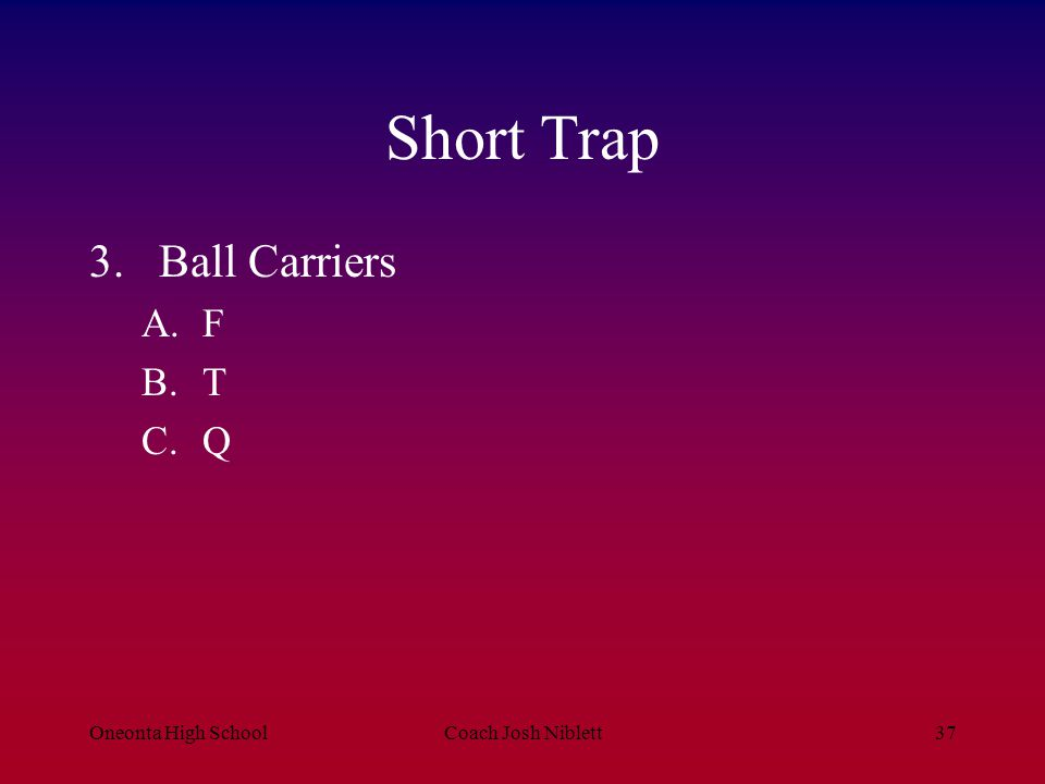 Short Trap Ball Carriers F T Q Oneonta High School Coach Josh Niblett