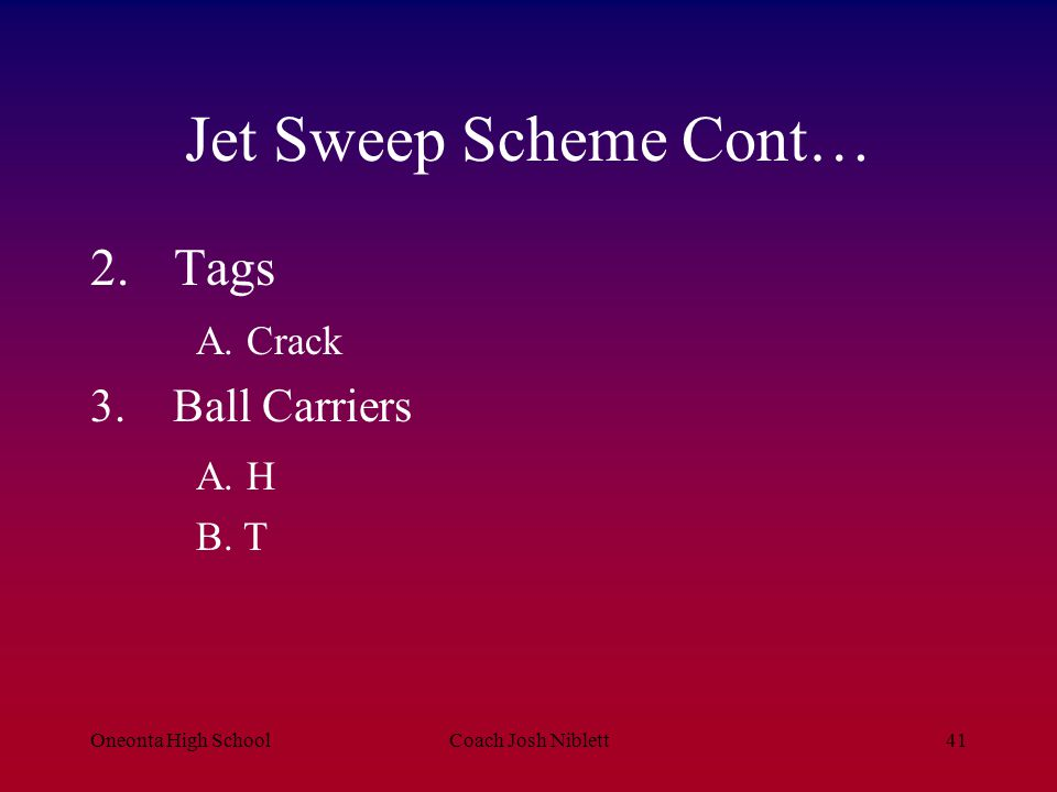 Jet Sweep Scheme Cont… Tags A. Crack Ball Carriers A. H B. T