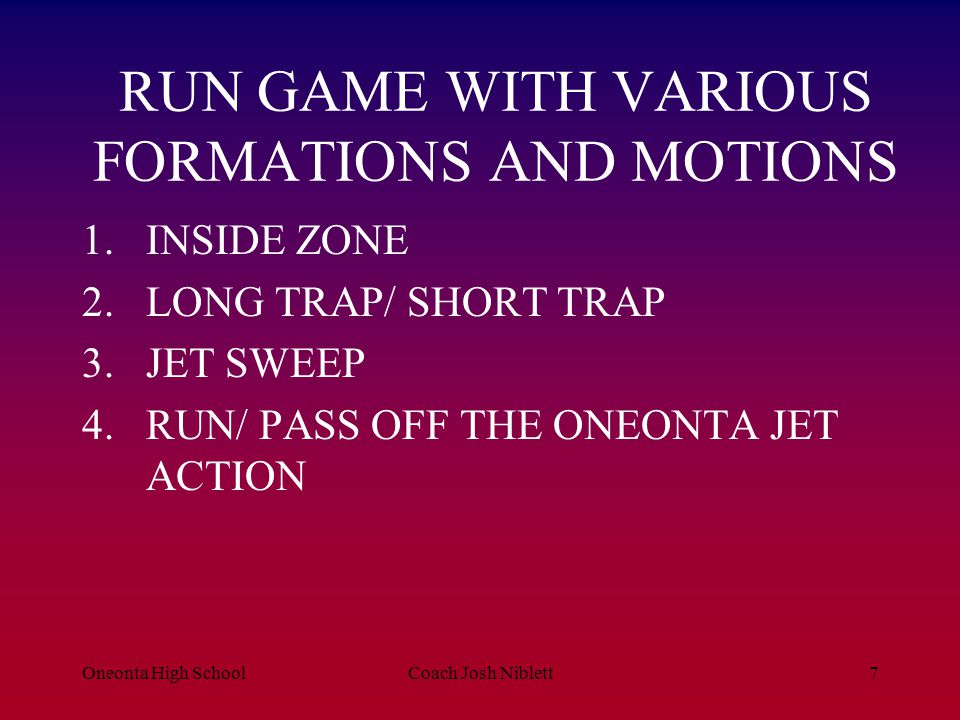 RUN GAME WITH VARIOUS FORMATIONS AND MOTIONS
