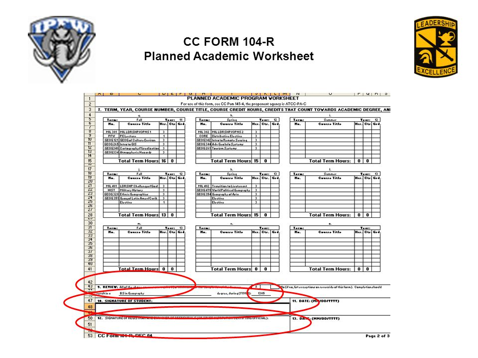 Planned Academic Worksheet