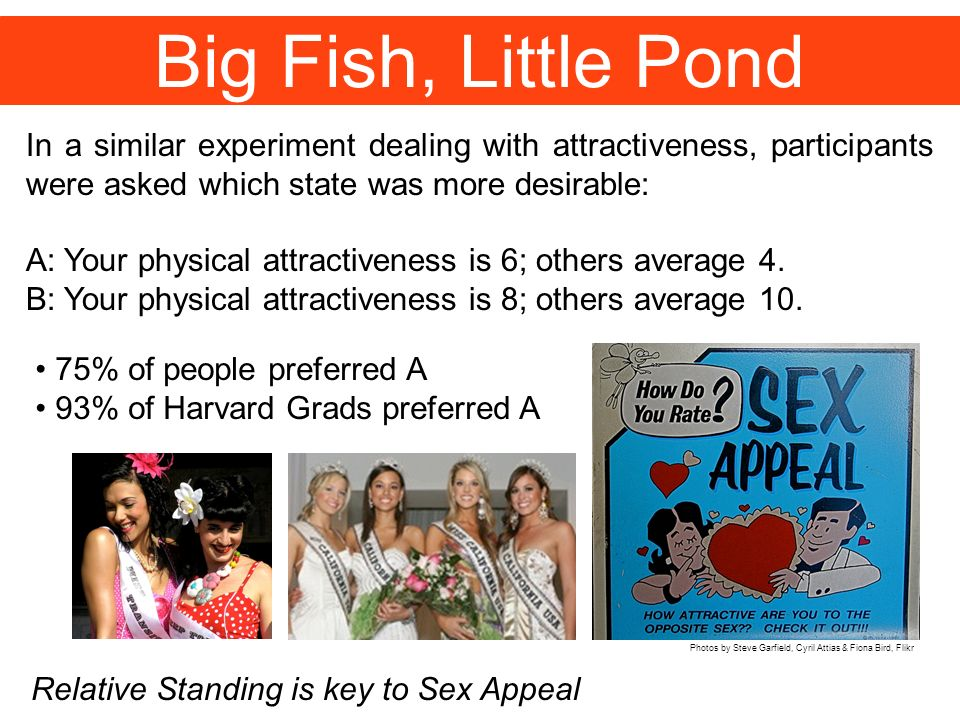 Big Fish, Little Pond In a similar experiment dealing with attractiveness, participants were asked which state was more desirable: