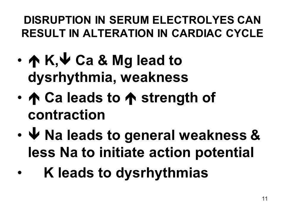  K, Ca & Mg lead to dysrhythmia, weakness