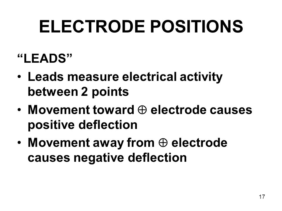 ELECTRODE POSITIONS LEADS