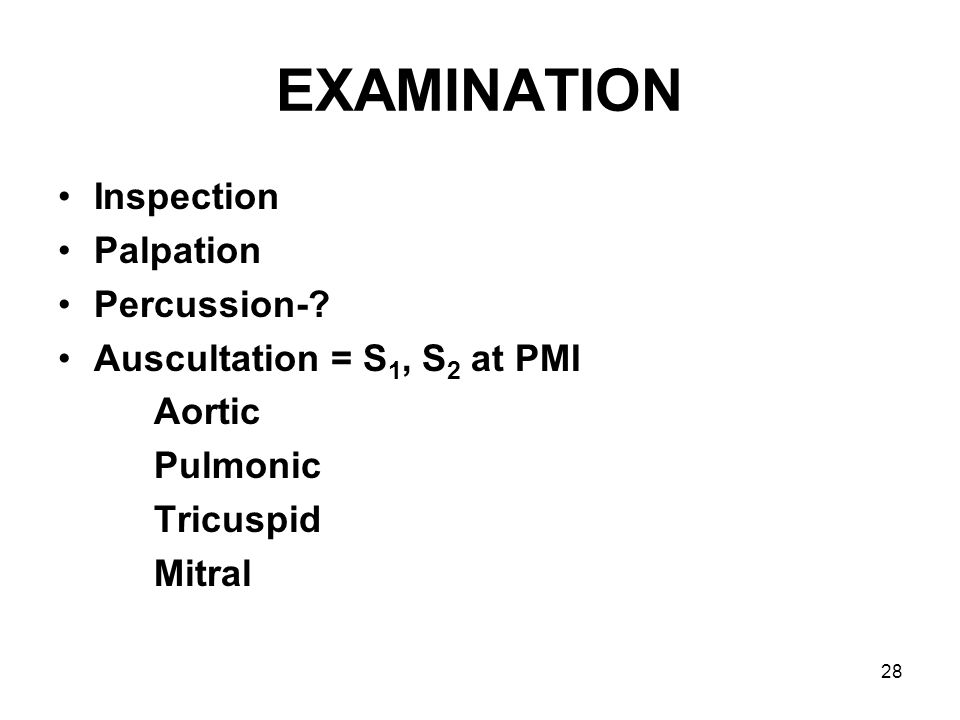 EXAMINATION Inspection Palpation Percussion-