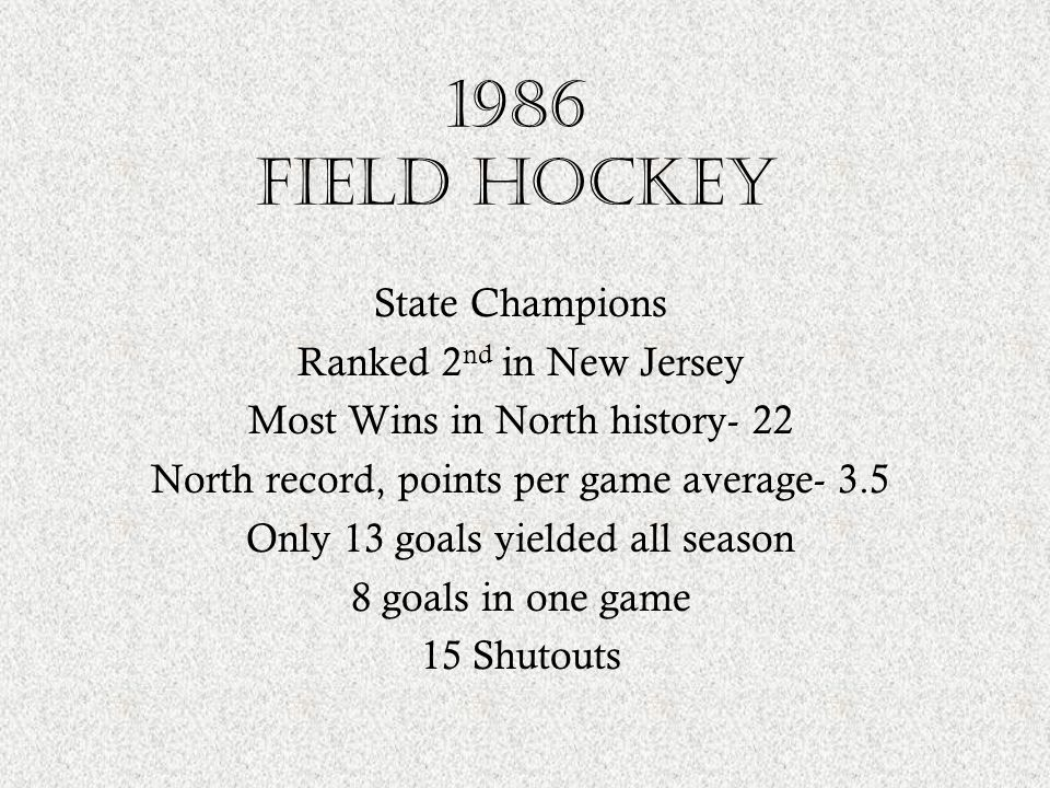 1986 field hockey State Champions Ranked 2nd in New Jersey