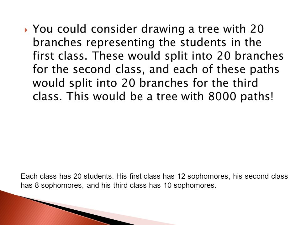 You could consider drawing a tree with 20 branches representing the students in the first class. These would split into 20 branches for the second class, and each of these paths would split into 20 branches for the third class. This would be a tree with 8000 paths!