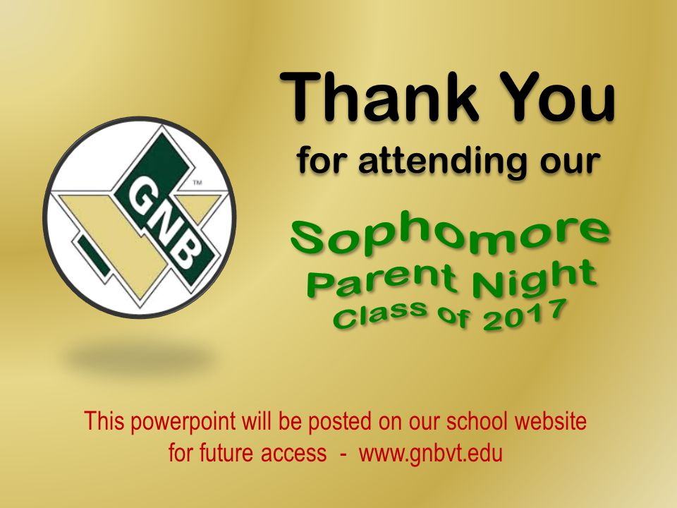 Sophomore Parent Night Class of 2017