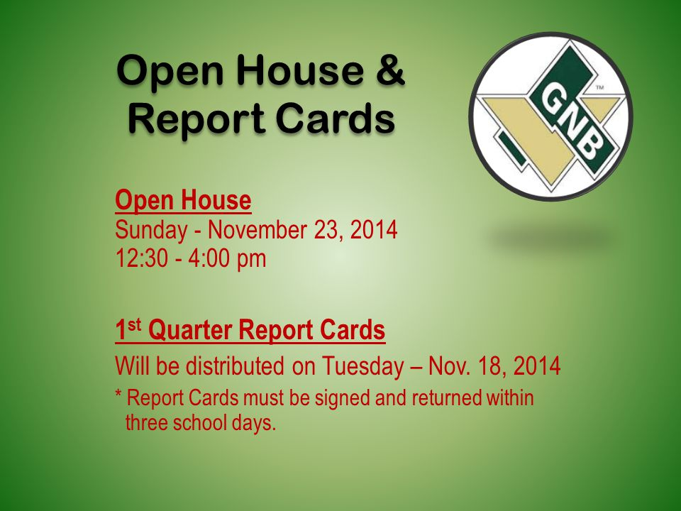 Open House & Report Cards