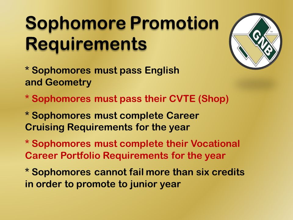 Sophomore Promotion Requirements