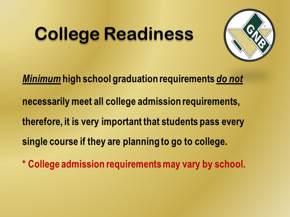 College Readiness Minimum high school graduation requirements do not