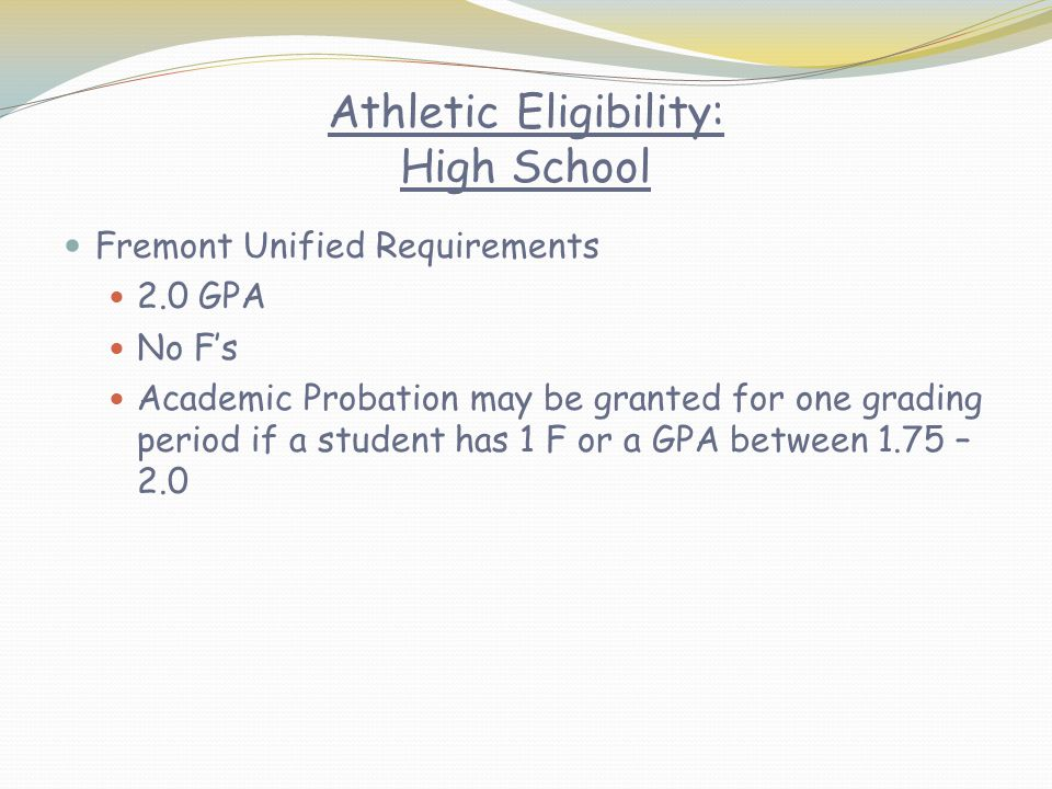 Athletic Eligibility: High School