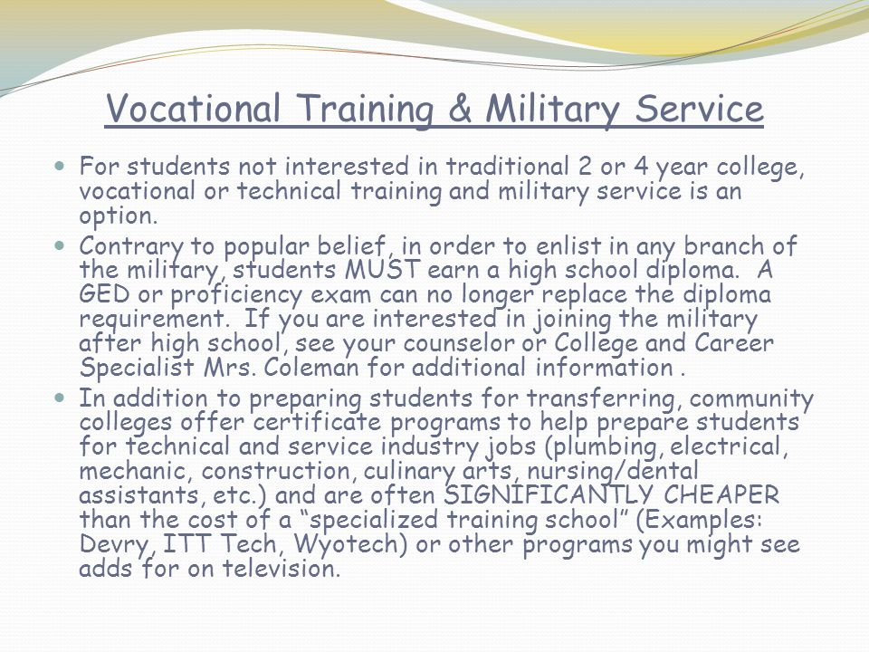 Vocational Training & Military Service