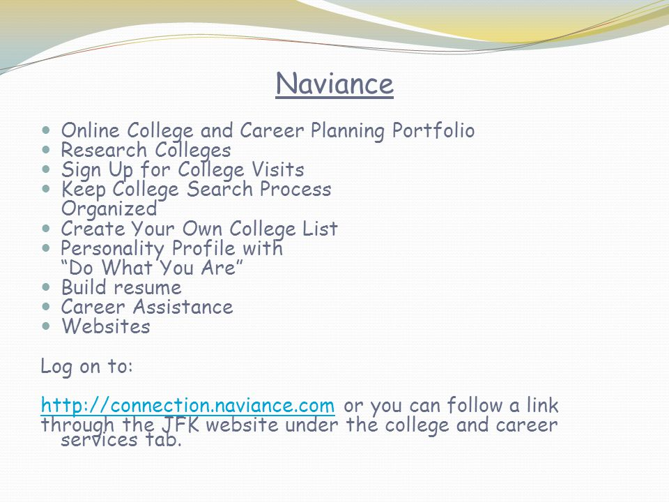 Naviance Online College and Career Planning Portfolio