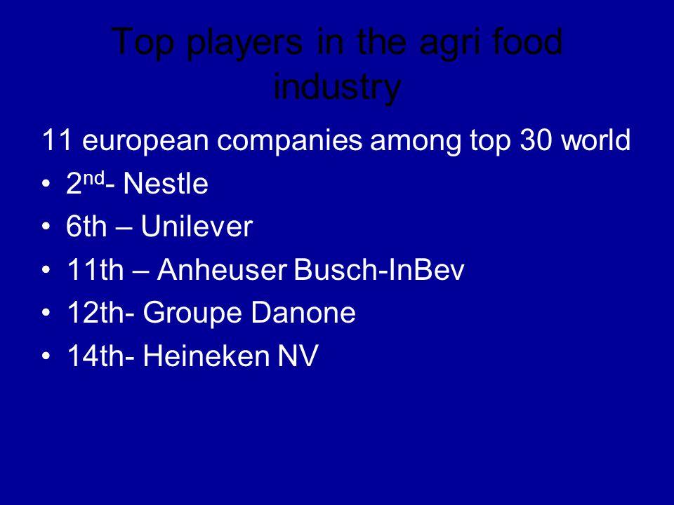 Top players in the agri food industry