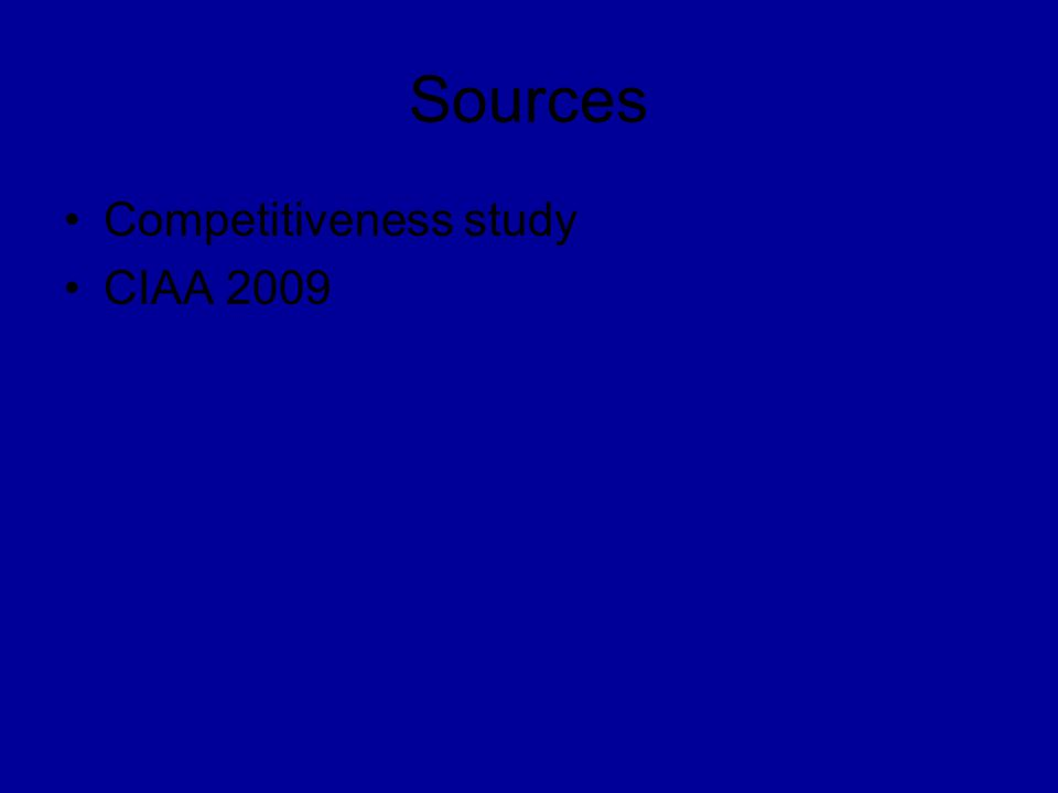 Sources Competitiveness study CIAA 2009