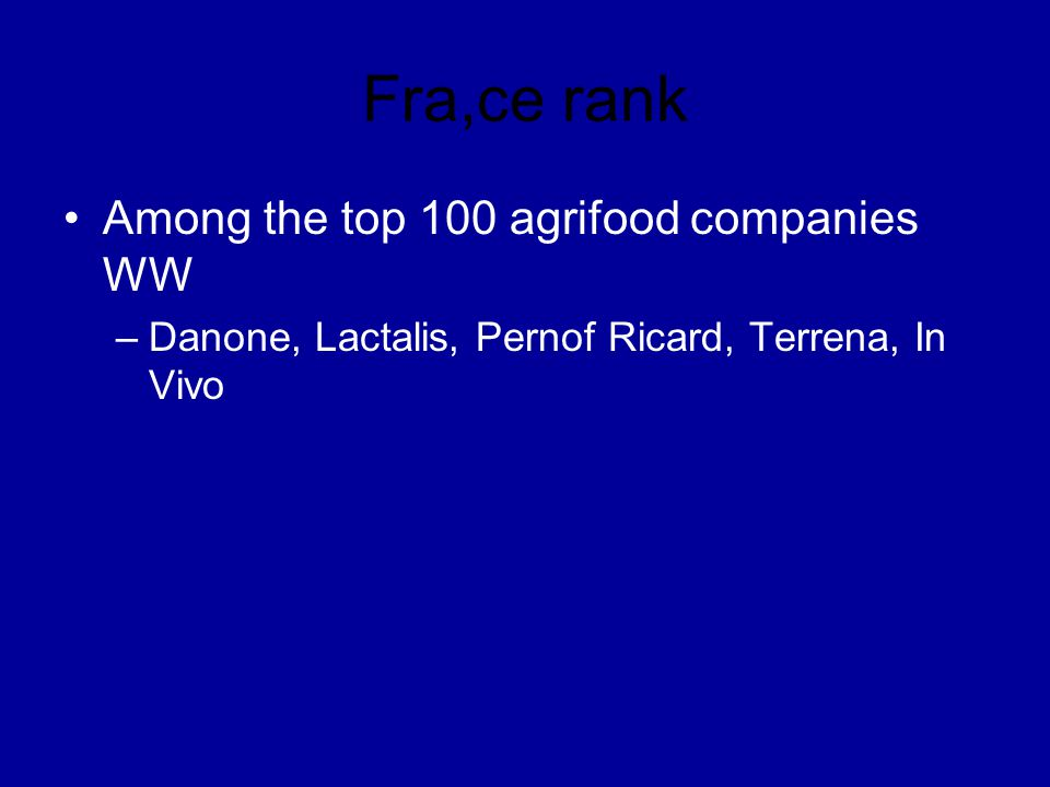 Fra,ce rank Among the top 100 agrifood companies WW