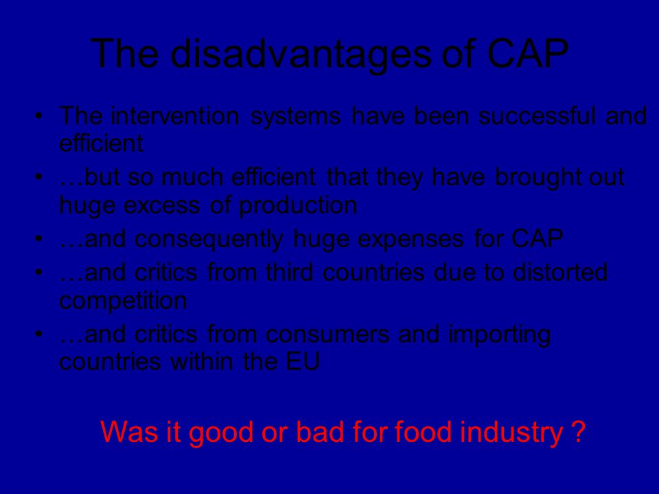 The disadvantages of CAP
