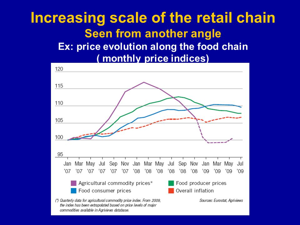 Increasing scale of the retail chain Seen from another angle Ex: price evolution along the food chain ( monthly price indices)