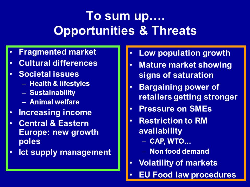 To sum up…. Opportunities & Threats