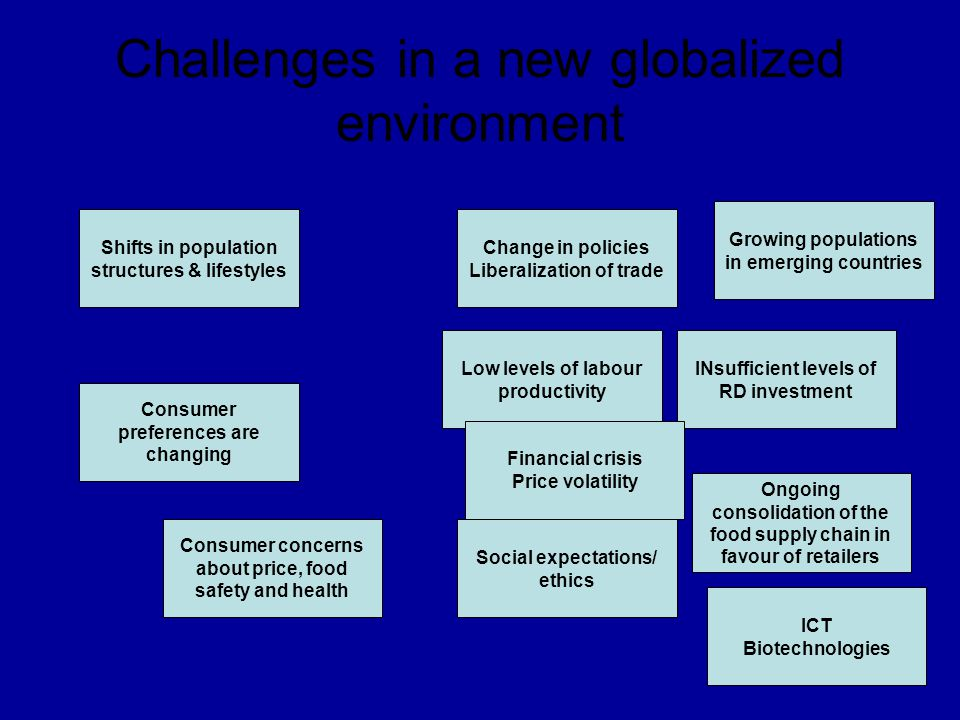Challenges in a new globalized environment
