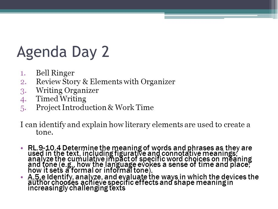 Agenda Day 2 Bell Ringer Review Story & Elements with Organizer