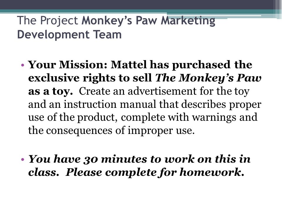 The Project Monkey's Paw Marketing Development Team