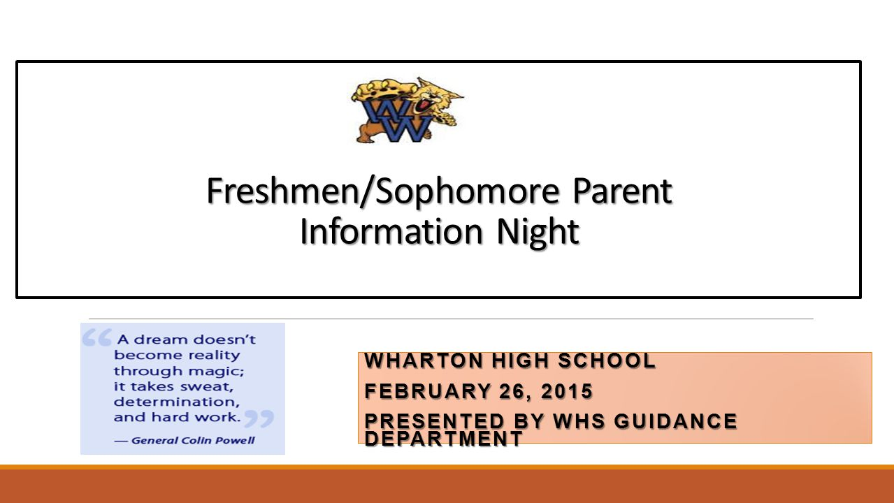 Freshmen/Sophomore Parent Information Night