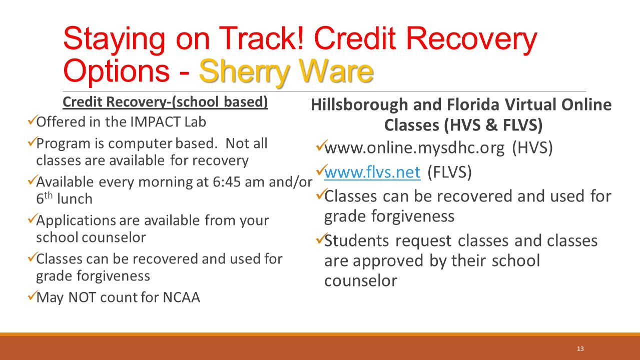Staying on Track! Credit Recovery Options - Sherry Ware