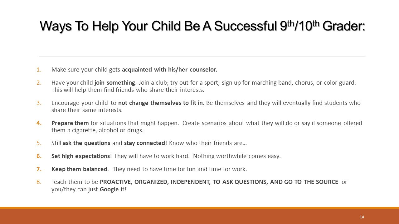 Ways To Help Your Child Be A Successful 9th/10th Grader: