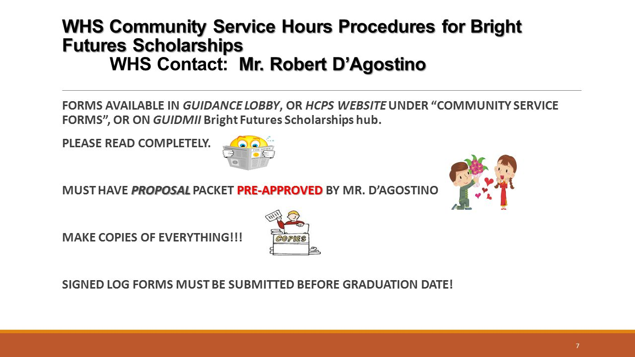 WHS Community Service Hours Procedures for Bright Futures Scholarships
