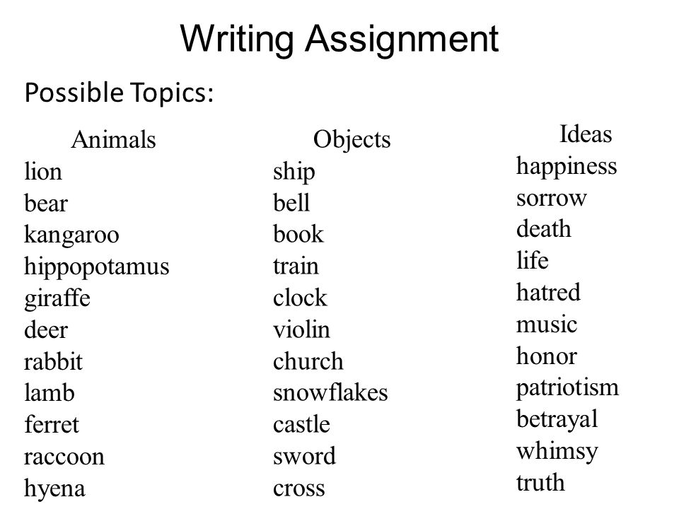 Writing Assignment Possible Topics: Ideas happiness sorrow death life