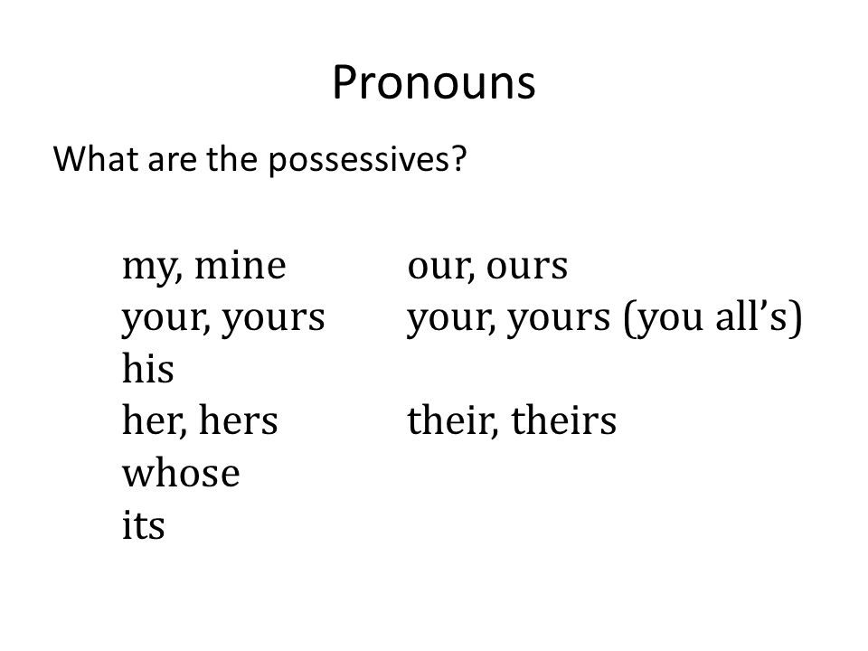 Pronouns my, mine your, yours his her, hers whose its our, ours