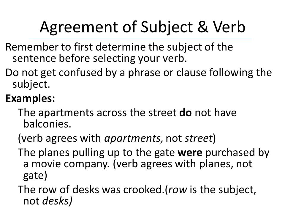 Agreement of Subject & Verb