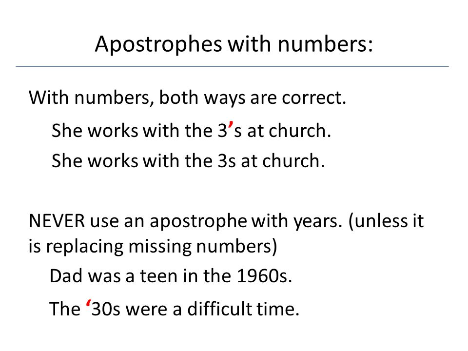 Apostrophes with numbers: