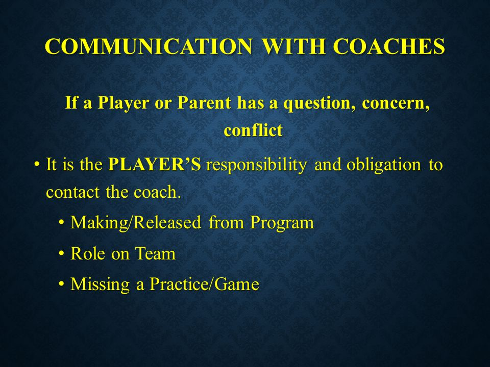 Communication with coaches