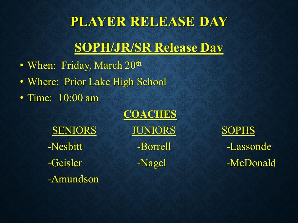 SOPH/JR/SR Release Day
