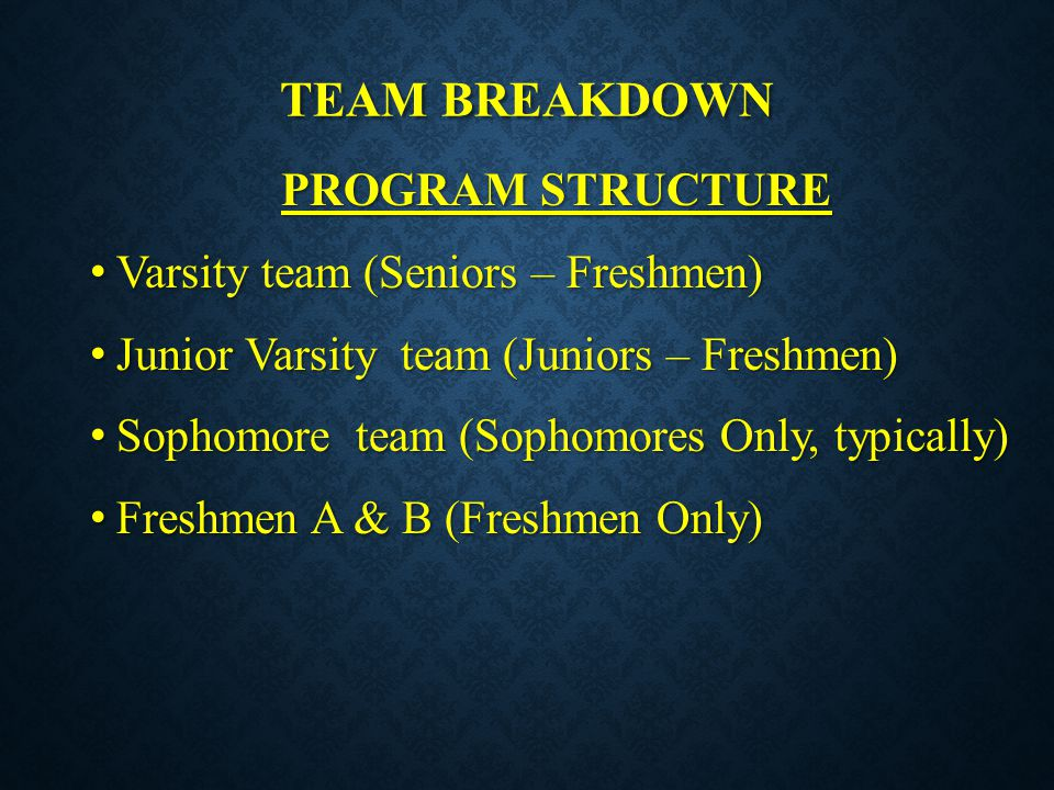 Team breakdown PROGRAM STRUCTURE Varsity team (Seniors – Freshmen)