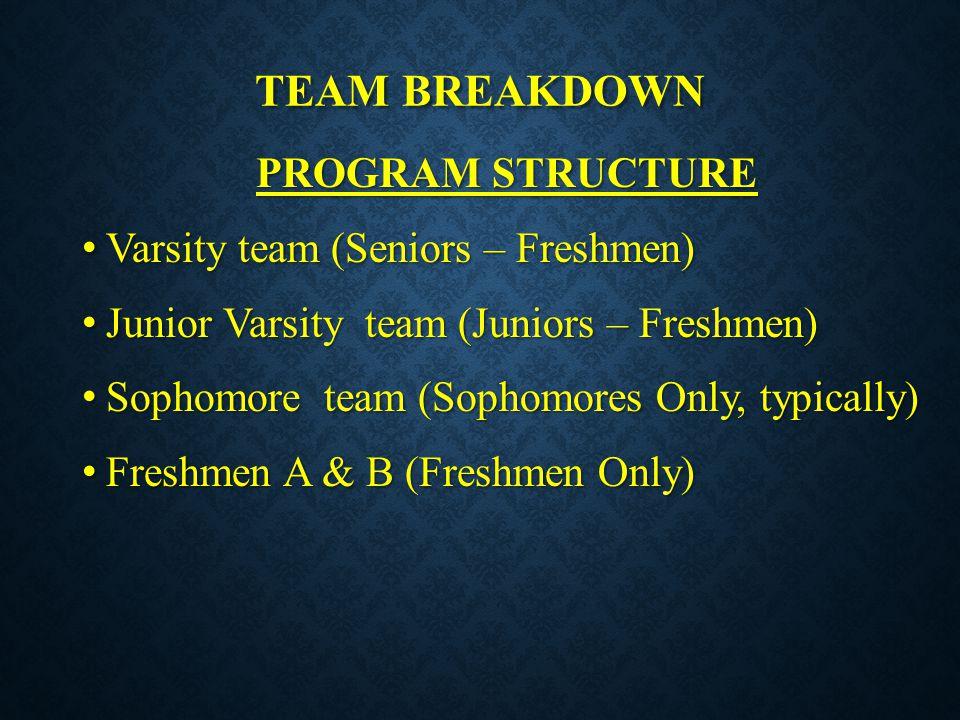 Team breakdown PROGRAM STRUCTURE Varsity team (Seniors – Freshmen)