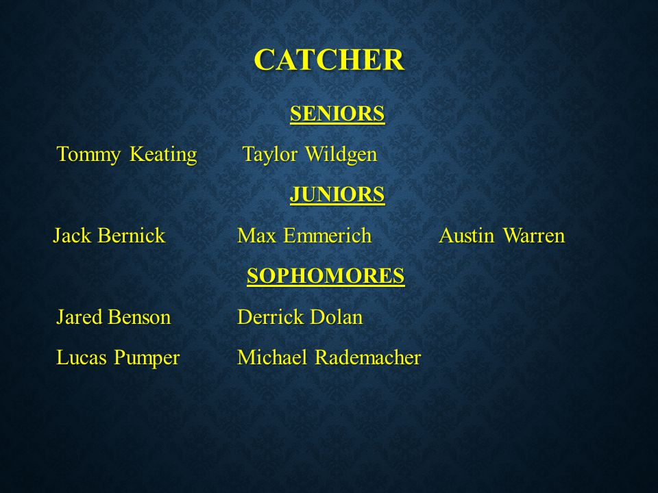 catcher SENIORS Tommy Keating Taylor Wildgen JUNIORS