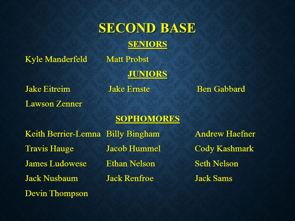Second base SENIORS Kyle Manderfeld Matt Probst JUNIORS