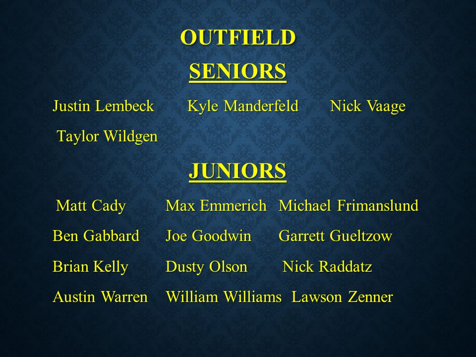 outfield SENIORS JUNIORS