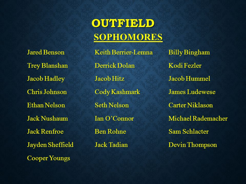 outfield SOPHOMORES Jared Benson Keith Berrier-Lemna Billy Bingham