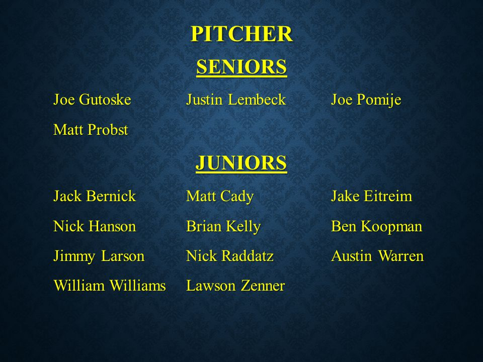 pitcher SENIORS JUNIORS Matt Probst